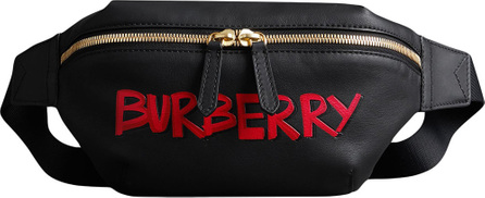 Burberry London England Medium Graffiti Print Leather Bum Bag