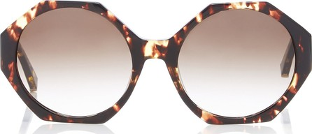 Kate Young Ruby Octagon-Frame Marbled Acetate Sunglasses