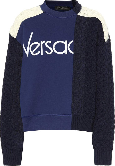 Versace Patchwork wool and cotton sweater