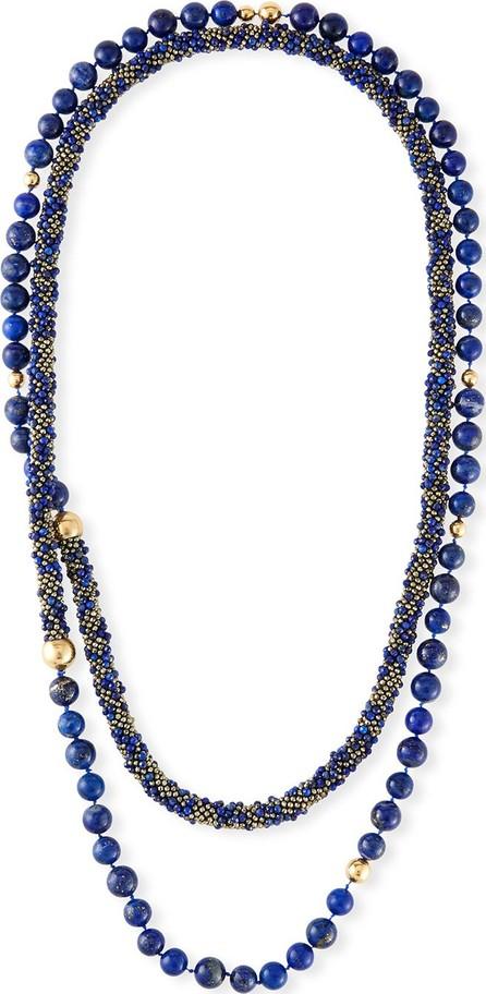 Adam Foster Fine Jewelry Long Lapis & Pyrite Beaded Necklace
