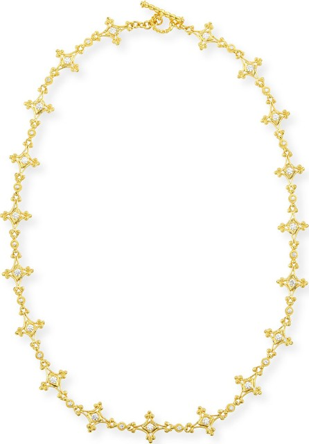 "Eli Jewels Aegean 18k Diamond Mix-Link Necklace, 17""L"