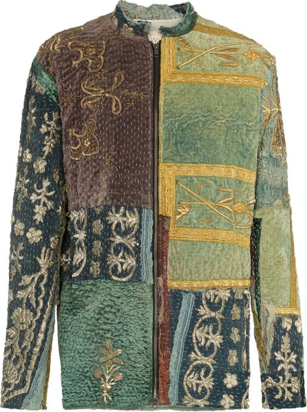 By Walid Embroidered panels silk jacket