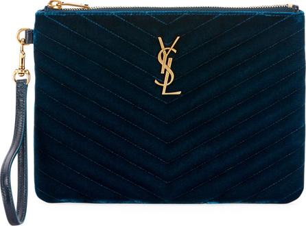 Saint Laurent Master Small Velvet Wristlet Pouch Wallet