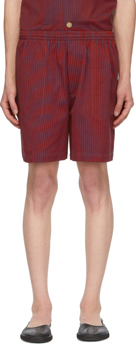 Bode Red & Blue Micro Tent Stripe Rugby Shorts