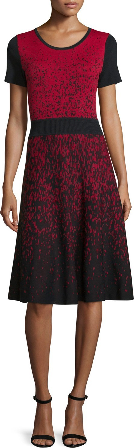 Carmen by Carmen Marc Valvo Short-Sleeve Ombre Fit-&-Flare Dress, Black/Red