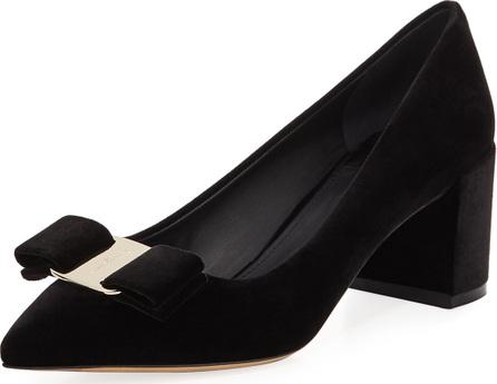Salvatore Ferragamo Velvet Block-Heel Bow Pointed-Toe Pump