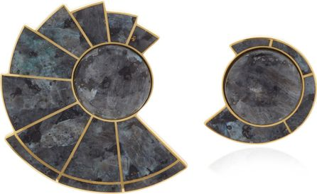 Grey Labardorite Nautilus Earfan Asymmetric Earrings