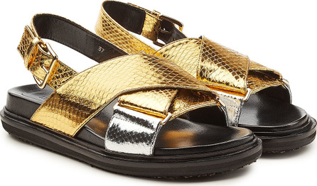 Marni Fussbett Embossed Leather Sandals