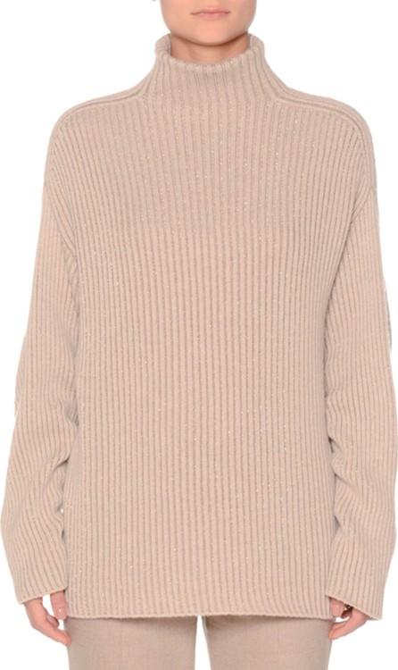 Agnona Metallic Cashmere Kimono-Sleeve Sweater