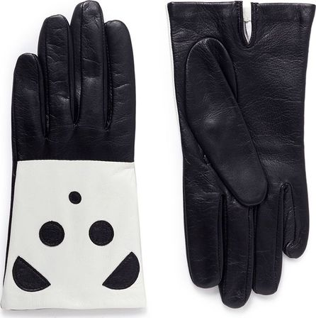 Aristide Panda face lambskin leather gloves