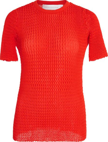 Victoria Beckham Chevron Plisse Cotton-Blend Top