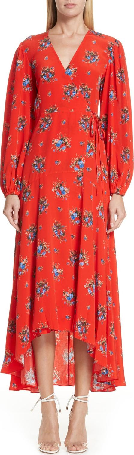 Ganni Floral Silk Wrap Dress