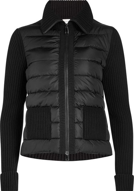 Moncler Quilted Down Jacket with Wool and Cashmere Sleeves