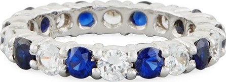Fantasia by DeSerio Blue & White CZ Eternity Band Ring in 14K White Gold