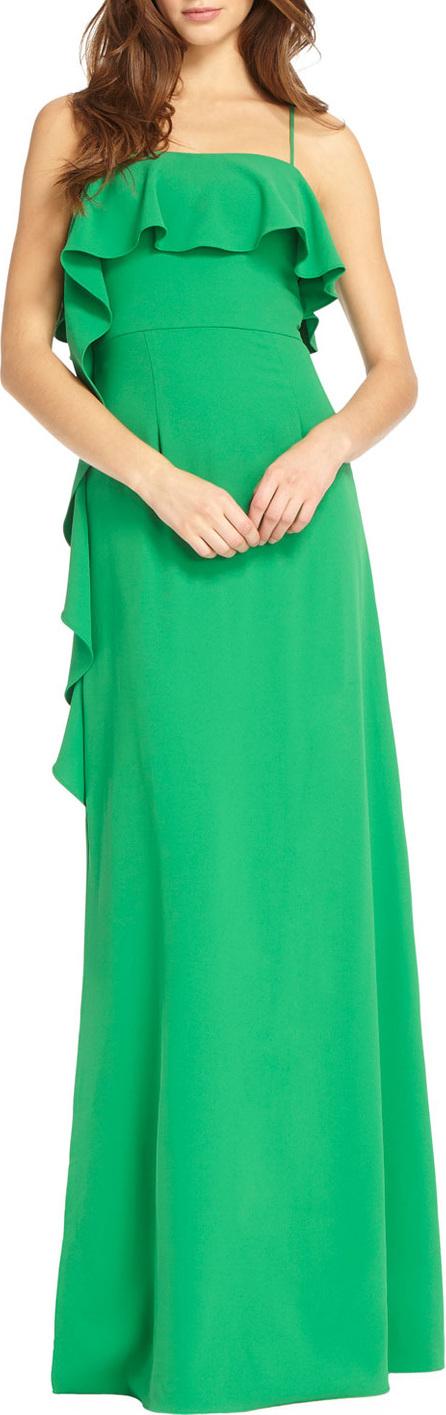 ML Monique Lhuillier Spaghetti-Strap gown w/ Flounce Ruffles