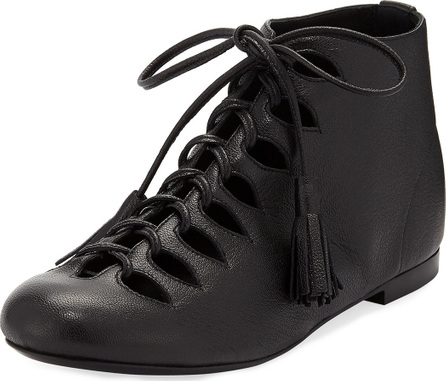Laurence Dacade Sunny Napa Leather Tassel Lace-Up Bootie