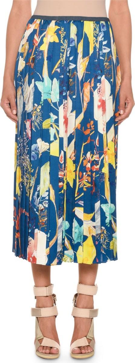 Agnona Pleated Floral-Print Midi Skirt