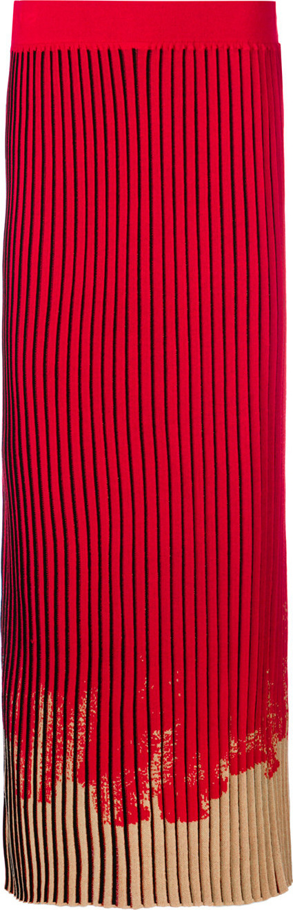 Pleated skirt with contrast hem