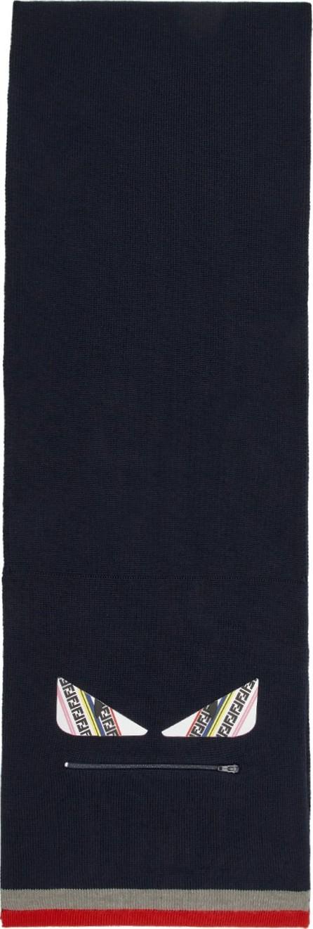 Fendi Blue Wool 'Bag Bugs' Zip Scarf