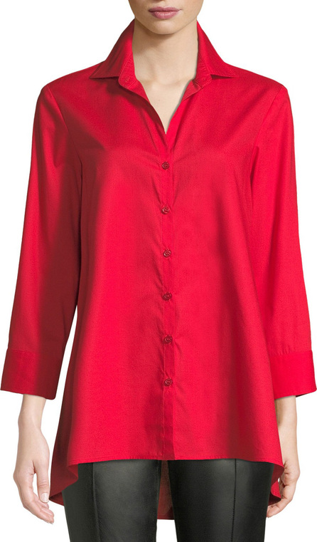Finley 3/4-Sleeve Button-Front Easy-Fit Swing-Shape Cotton Blouse