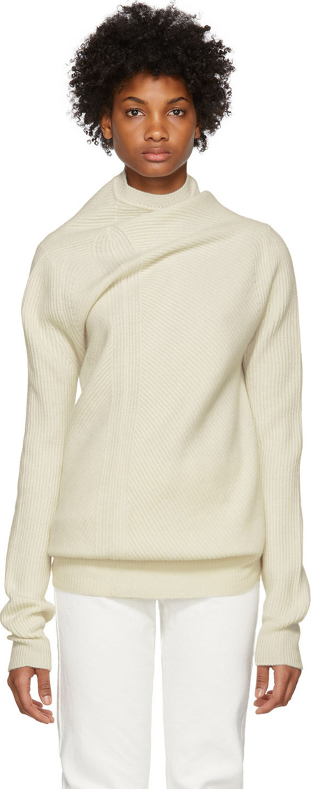 Jil Sander White Ribbed Cashmere Sweater