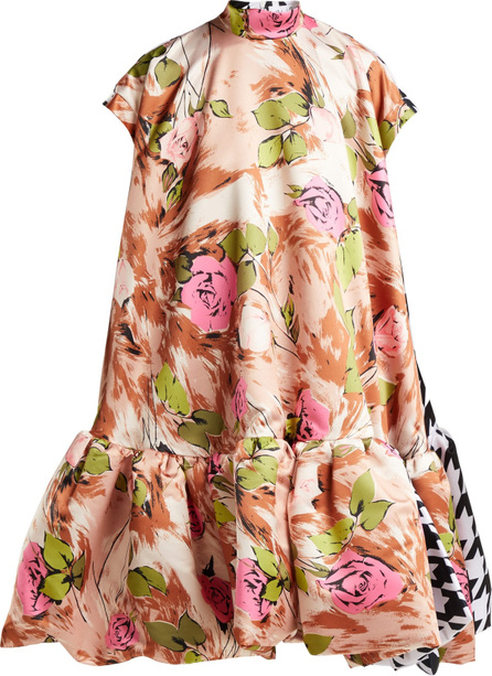 Richard Quinn Contrasting-print A-line satin dress