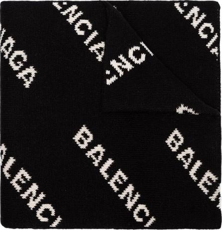 Balenciaga logo intarsia wool blend scarf