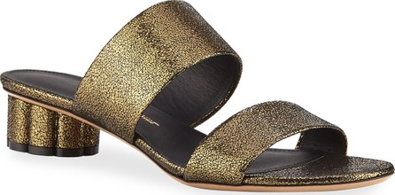 Salvatore Ferragamo Belluno Metallic Two-Band Slide Sandals