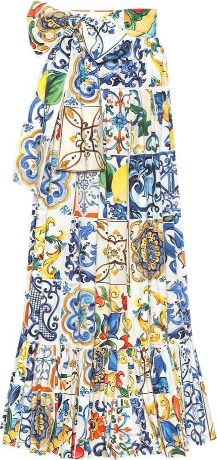 Dolce & Gabbana Printed cotton maxi skirt