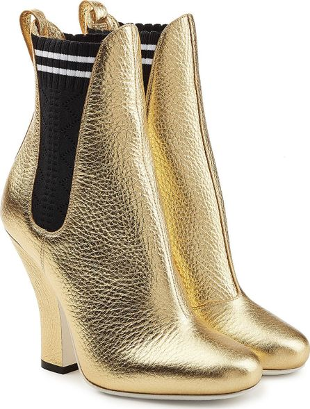 Fendi Metallic Leather Ankle Boots