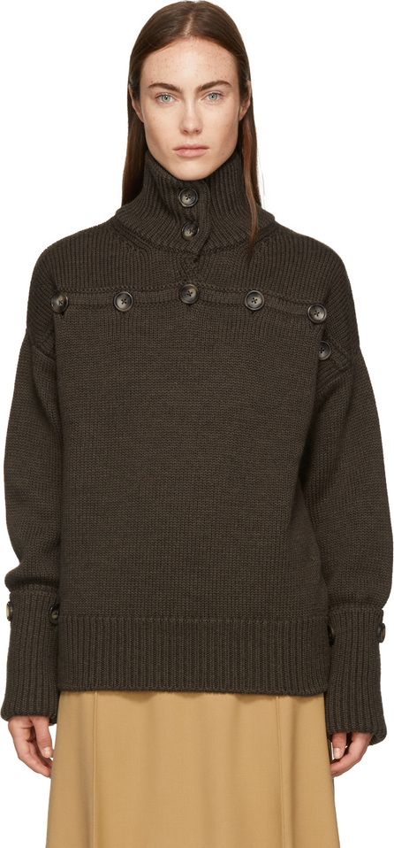 Joseph Brown Button Detail Turtleneck