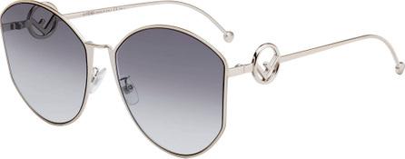 Fendi Round Gradient Metal Sunglasses
