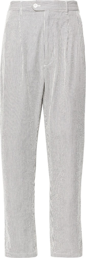 Engineered Garments Tapered Pleated Striped Cotton-Seersucker Trousers