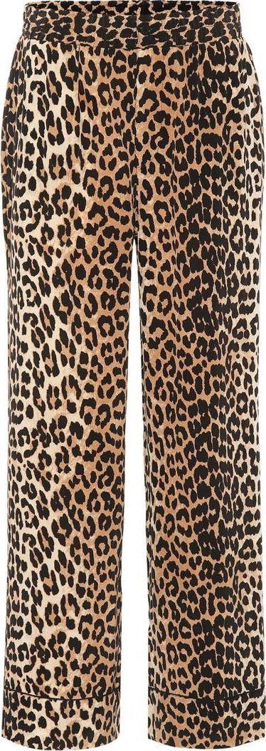 Ganni Fayette leopard-printed silk trousers