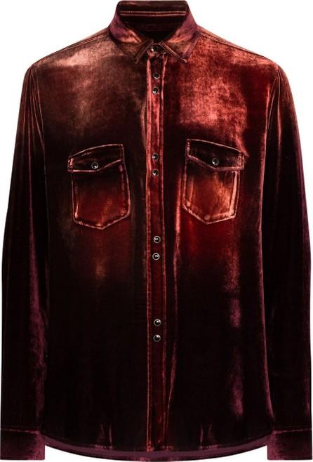 Saint Laurent Gradient-dyed velvet shirt