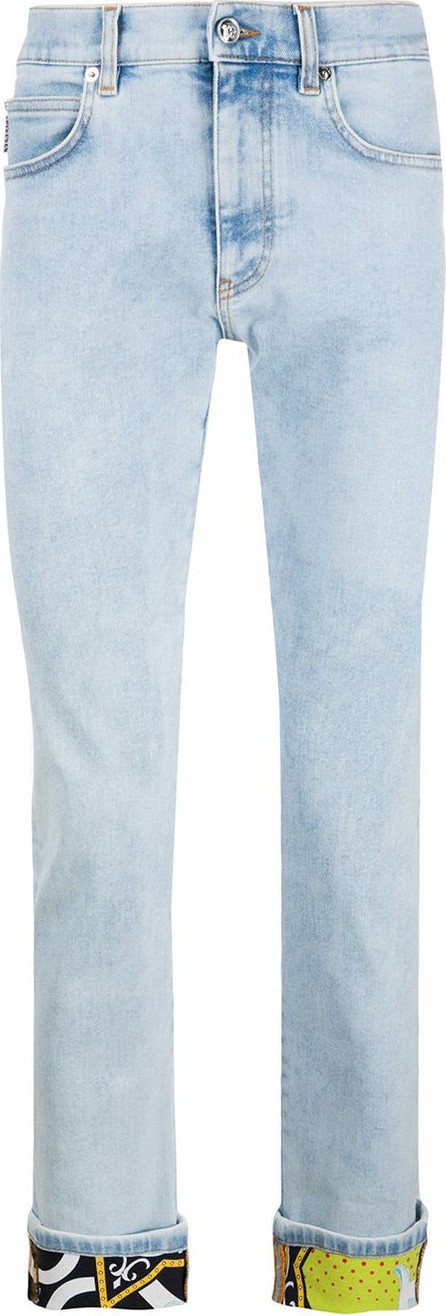 Versace Turned-up hem slim-fit jeans