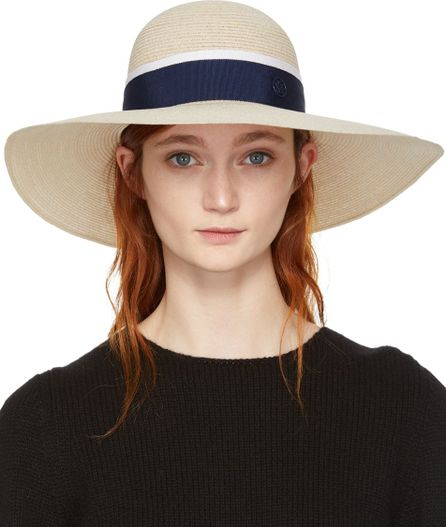Maison Michel Beige & Navy Straw Blanche Hat