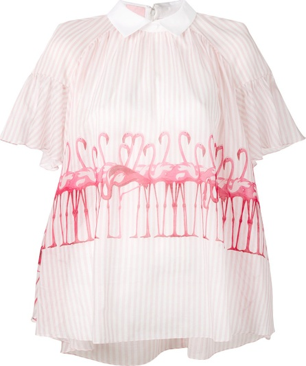 GIAMBA striped flamingo blouse
