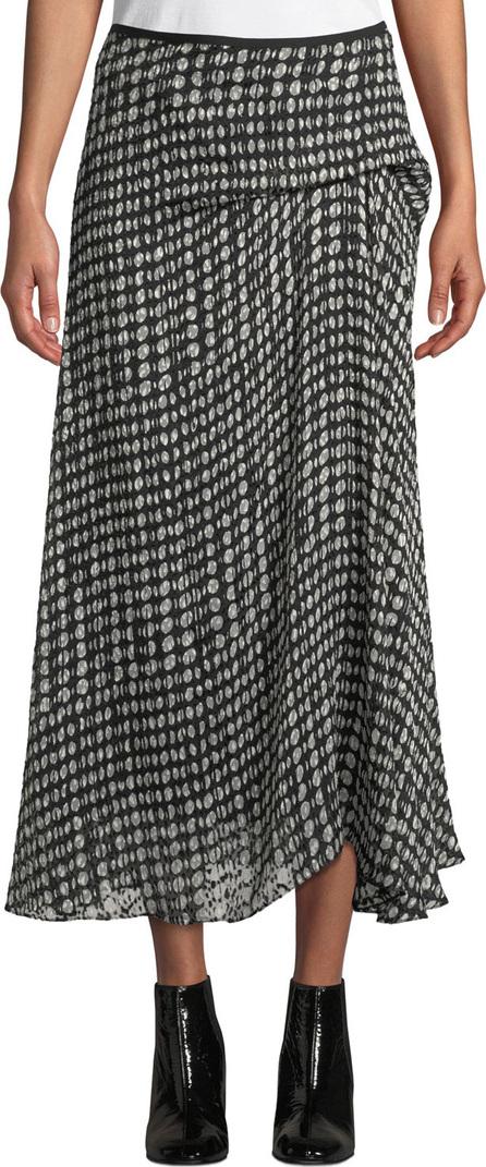 Theory Side-Drape Oval-Print Midi Skirt