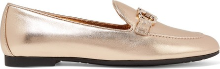Salvatore Ferragamo Trifoglio embellished metallic leather loafers