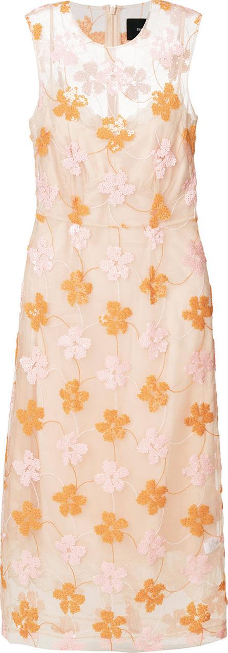 Simone Rocha Sequin floral sheer-overlay dress