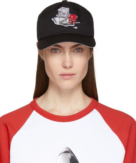 Acne Studios Black Spilled Cocktail Calis Soft Baseball Cap