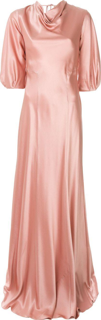Alberta Ferretti Cowl neck slip gown