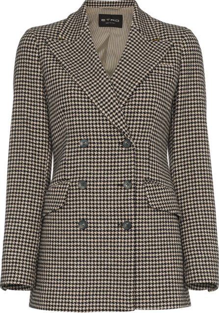 Etro Double breasted houndstooth wool blazer
