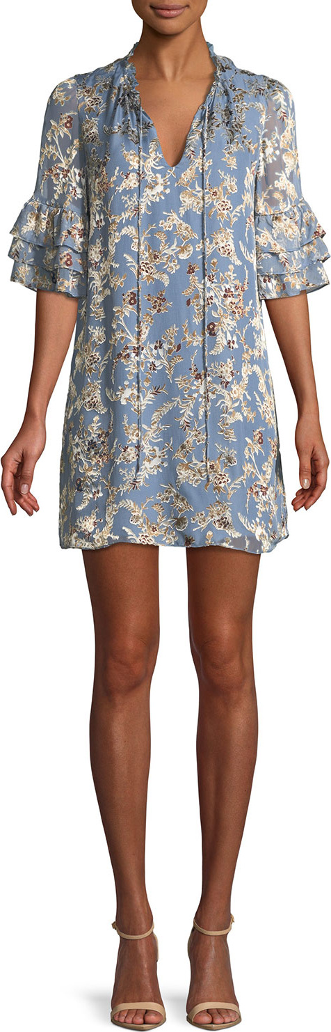 Alice + Olivia - Julius Split-Neck Tiered-Sleeve Floral-Jacquard Tunic Dress