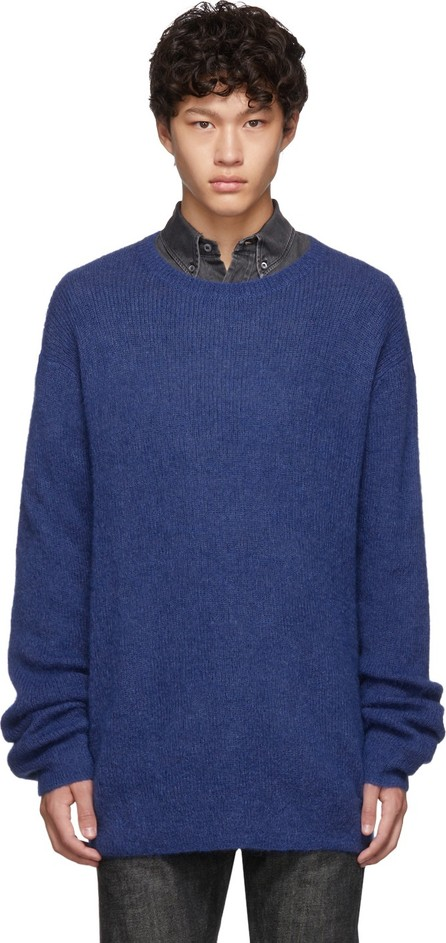 Neil Barrett Blue Mohair 3 GG Slim Long Sweater