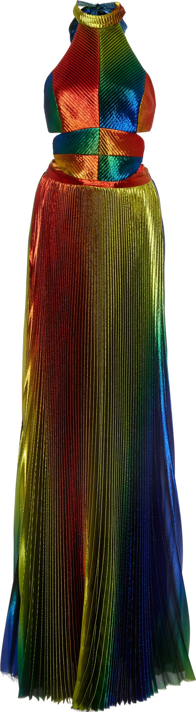 Rosie Assoulin - Rainbow Lame Pleated Halter Gown