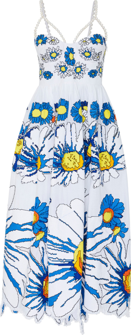 Yuliya Magdych Loves Me Loves Me Not Embroidered Linen Pearl Sundress