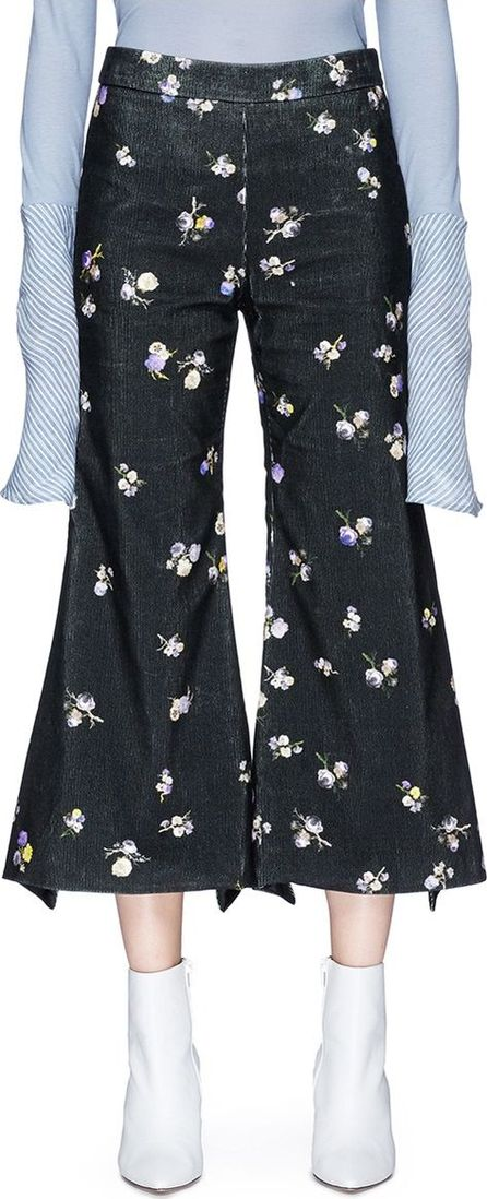 Acne Studios 'Tyme' floral print cropped flared corduroy pants