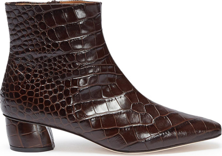 Loq 'Matea' croc embossed spazzalato leather ankle boots